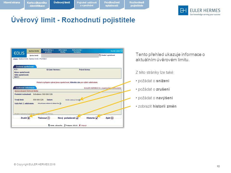 Úvěrový limit - Rozhodnutí pojistitele