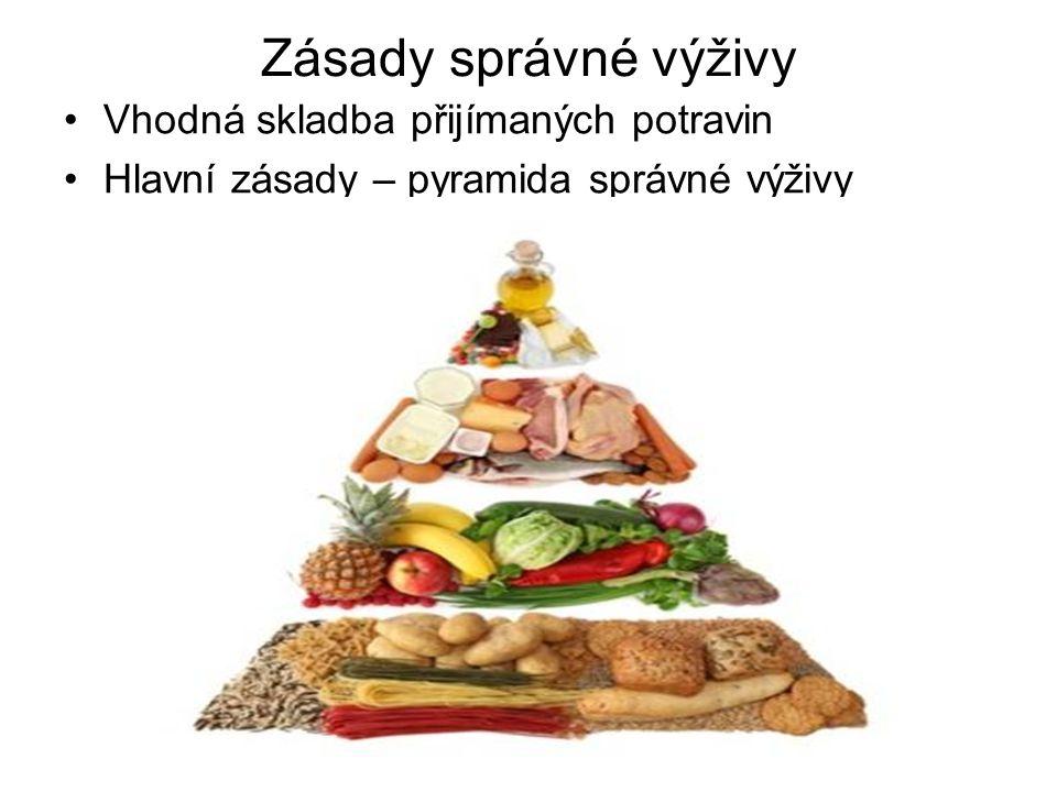 Zásady správné výživy Vhodná skladba přijímaných potravin