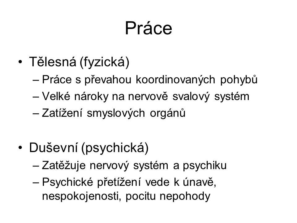 Práce Tělesná (fyzická) Duševní (psychická)