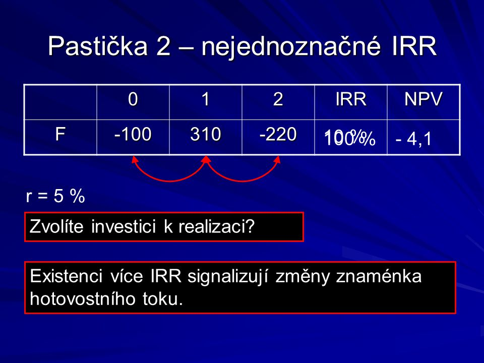 Pastička 2 – nejednoznačné IRR
