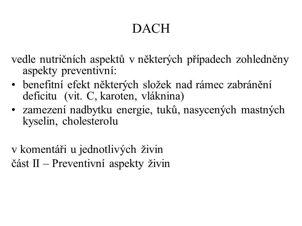 DACH vedle nutričních aspektů v některých případech zohledněny aspekty preventivní: