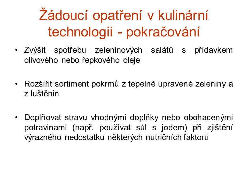 Žádoucí opatření v kulinární technologii - pokračování