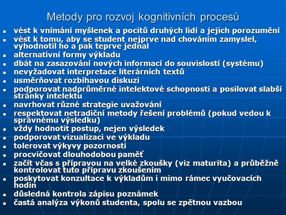 Metody pro rozvoj kognitivních procesů