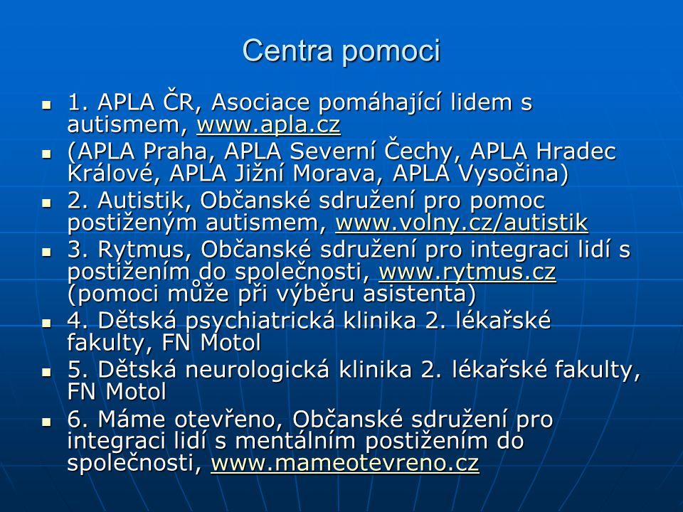 Centra pomoci 1. APLA ČR, Asociace pomáhající lidem s autismem, www.apla.cz.