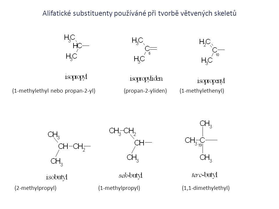 Alifatické substituenty používáné při tvorbě větvených skeletů
