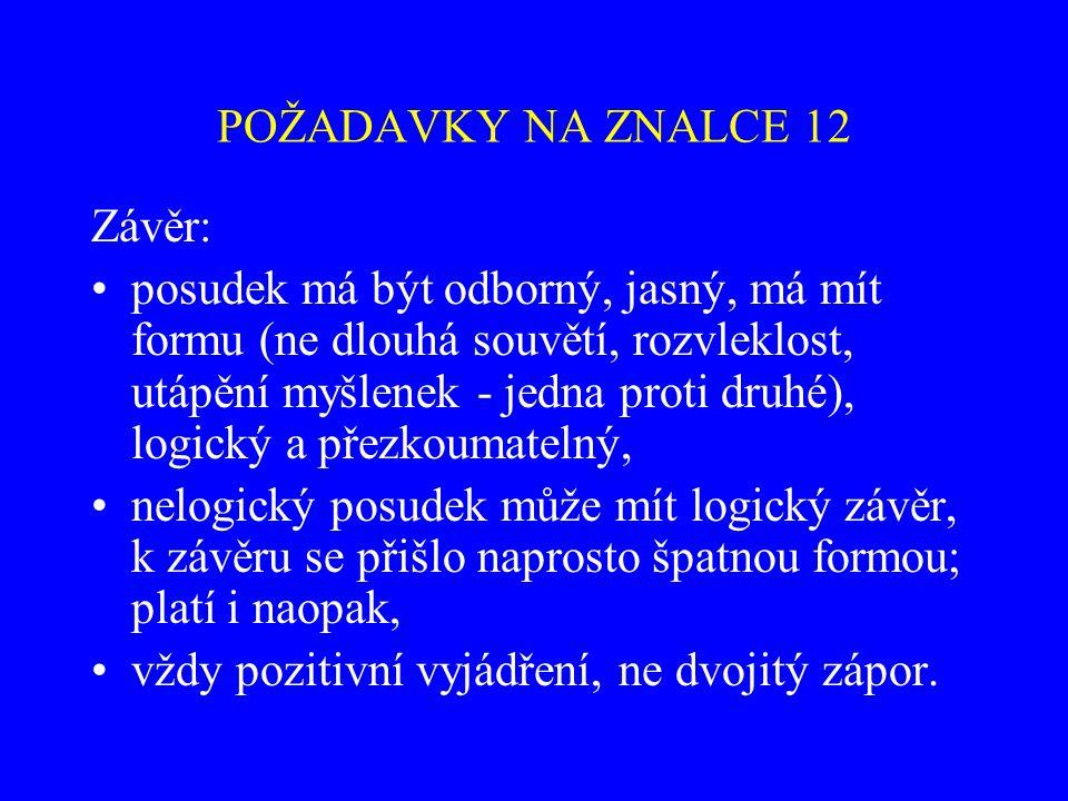 POŽADAVKY NA ZNALCE 12 Závěr: