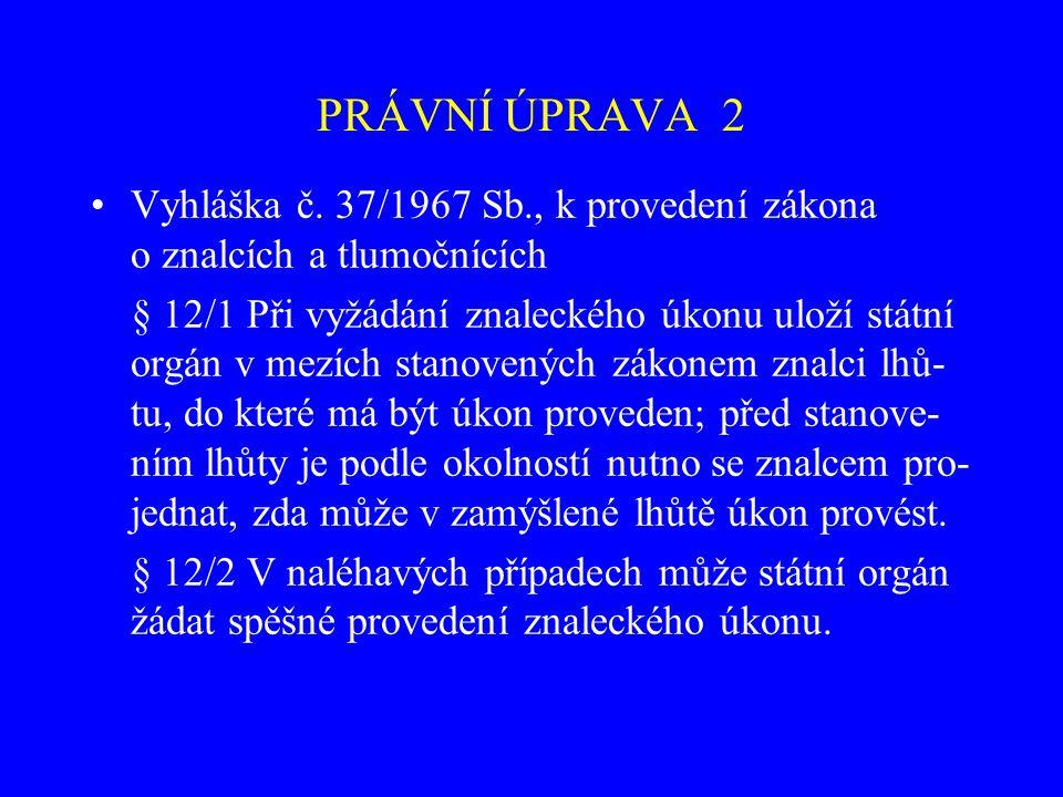 PRÁVNÍ ÚPRAVA 2 Vyhláška č. 37/1967 Sb., k provedení zákona o znalcích a tlumočnících.