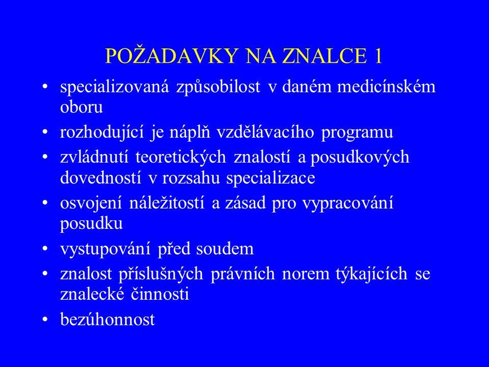 POŽADAVKY NA ZNALCE 1 specializovaná způsobilost v daném medicínském oboru. rozhodující je náplň vzdělávacího programu.