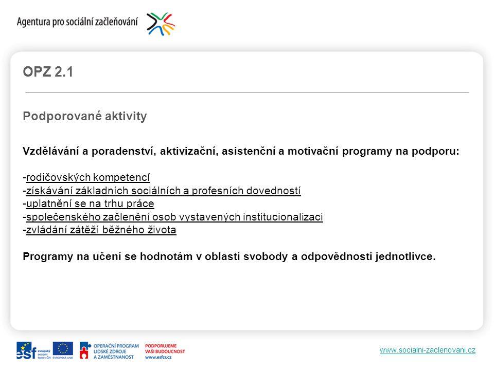 OPZ 2.1 Podporované aktivity