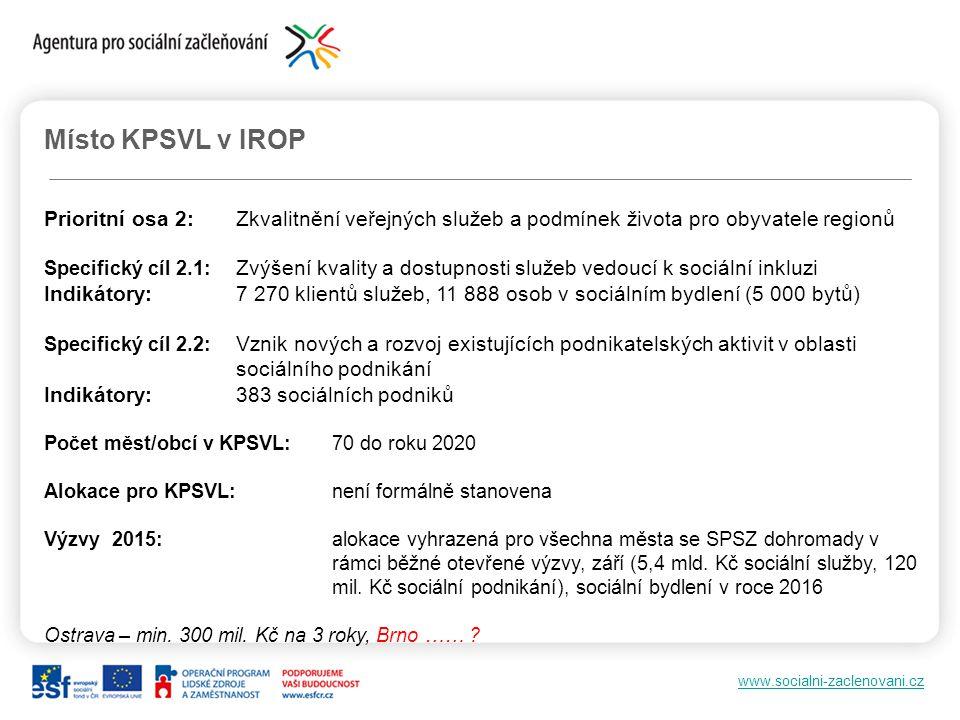 Místo KPSVL v IROP Prioritní osa 2: Zkvalitnění veřejných služeb a podmínek života pro obyvatele regionů.