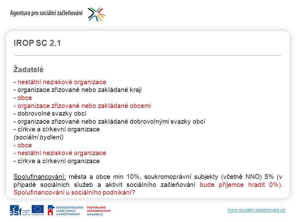 IROP SC 2.1 Žadatelé - nestátní neziskové organizace