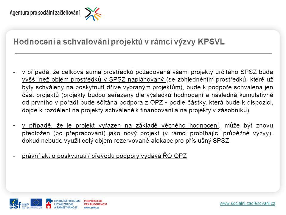 Hodnocení a schvalování projektů v rámci výzvy KPSVL
