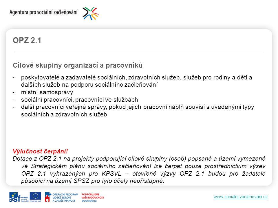 OPZ 2.1 Cílové skupiny organizací a pracovníků