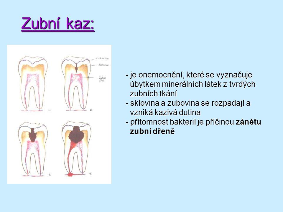 Zubní kaz: je onemocnění, které se vyznačuje