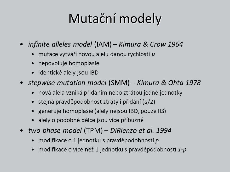 Mutační modely infinite alleles model (IAM) – Kimura & Crow 1964