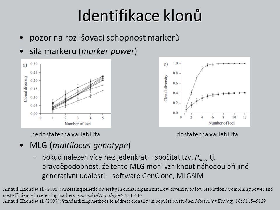Identifikace klonů pozor na rozlišovací schopnost markerů