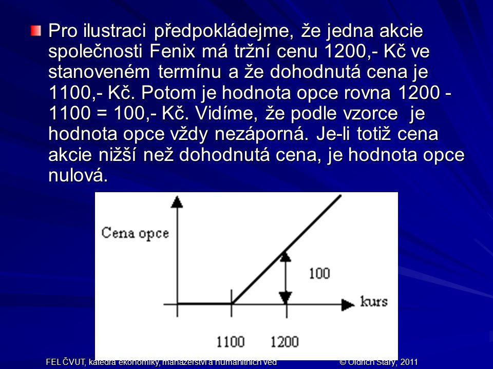 Pro ilustraci předpokládejme, že jedna akcie společnosti Fenix má tržní cenu 1200,- Kč ve stanoveném termínu a že dohodnutá cena je 1100,- Kč. Potom je hodnota opce rovna 1200 - 1100 = 100,- Kč. Vidíme, že podle vzorce je hodnota opce vždy nezáporná. Je-li totiž cena akcie nižší než dohodnutá cena, je hodnota opce nulová.