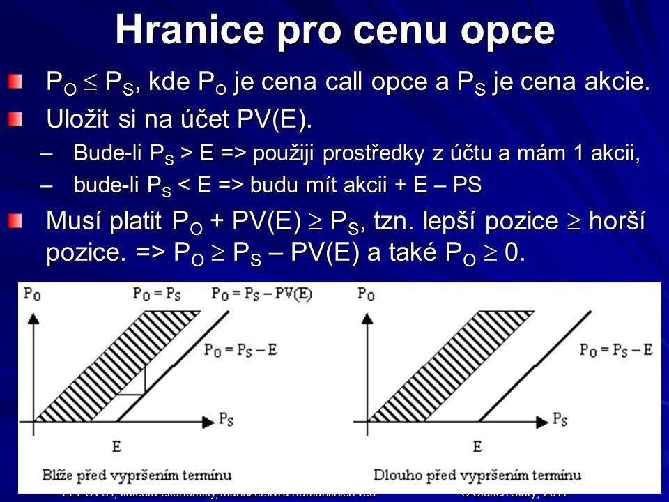 Hranice pro cenu opce PO  PS, kde PO je cena call opce a PS je cena akcie. Uložit si na účet PV(E).