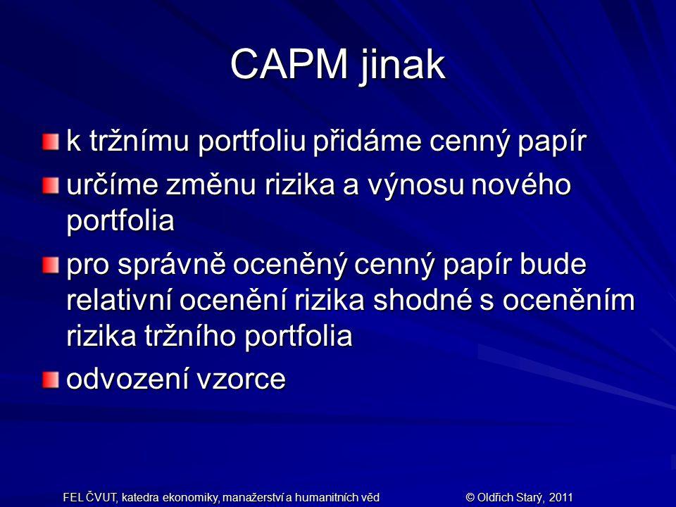 CAPM jinak k tržnímu portfoliu přidáme cenný papír
