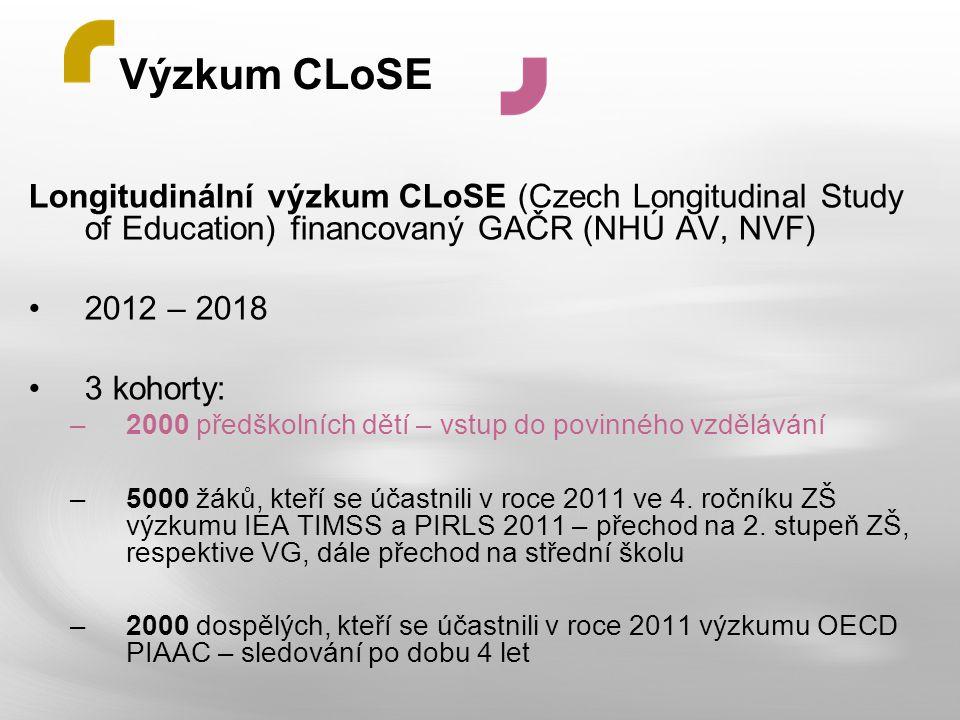 Výzkum CLoSE Longitudinální výzkum CLoSE (Czech Longitudinal Study of Education) financovaný GAČR (NHÚ AV, NVF)