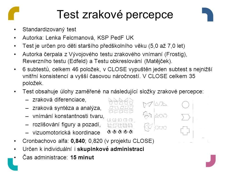 Test zrakové percepce Standardizovaný test