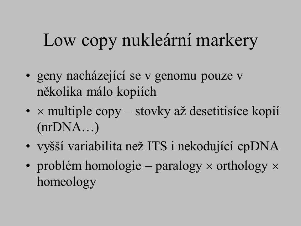 Low copy nukleární markery