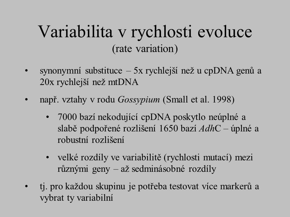 Variabilita v rychlosti evoluce (rate variation)