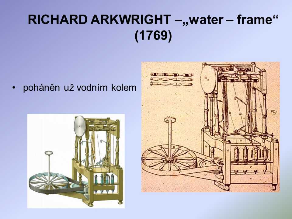 "RICHARD ARKWRIGHT –""water – frame (1769)"