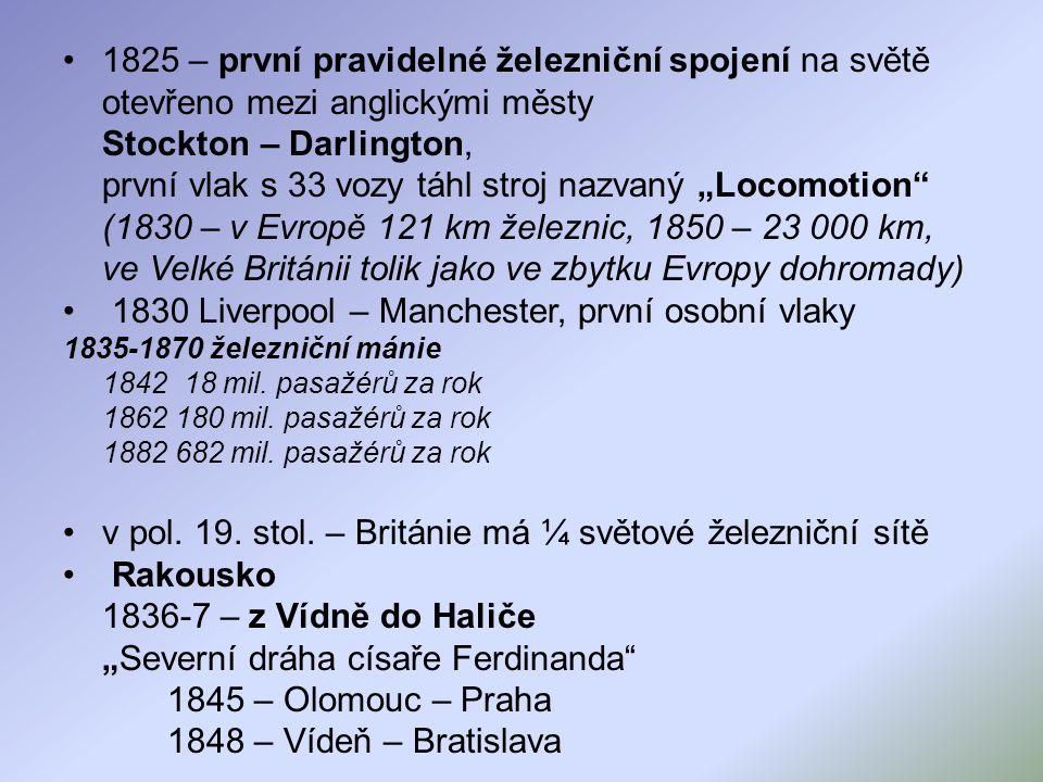 (1830 – v Evropě 121 km železnic, 1850 – 23 000 km,