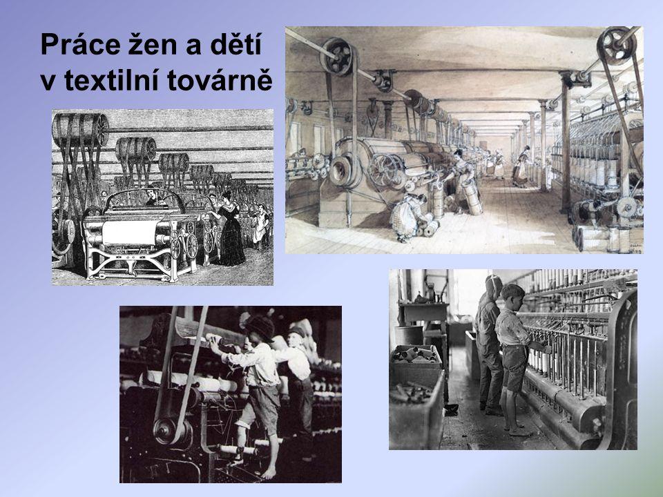 Práce žen a dětí v textilní továrně