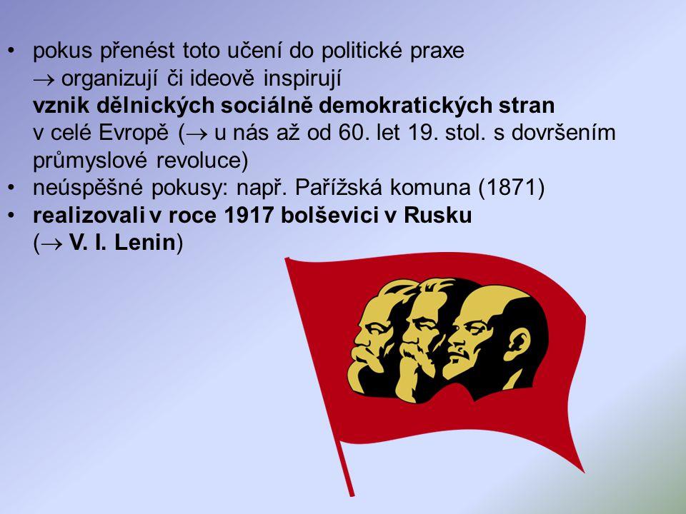 pokus přenést toto učení do politické praxe  organizují či ideově inspirují vznik dělnických sociálně demokratických stran v celé Evropě ( u nás až od 60. let 19. stol. s dovršením průmyslové revoluce)