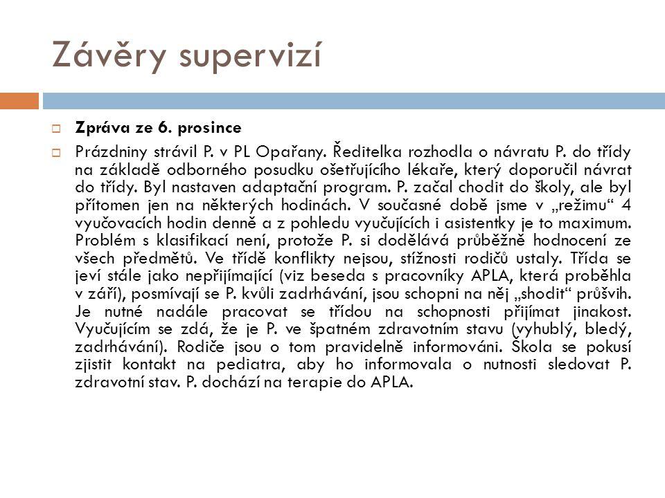 Závěry supervizí Zpráva ze 6. prosince