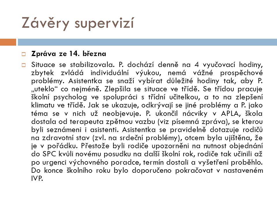 Závěry supervizí Zpráva ze 14. března