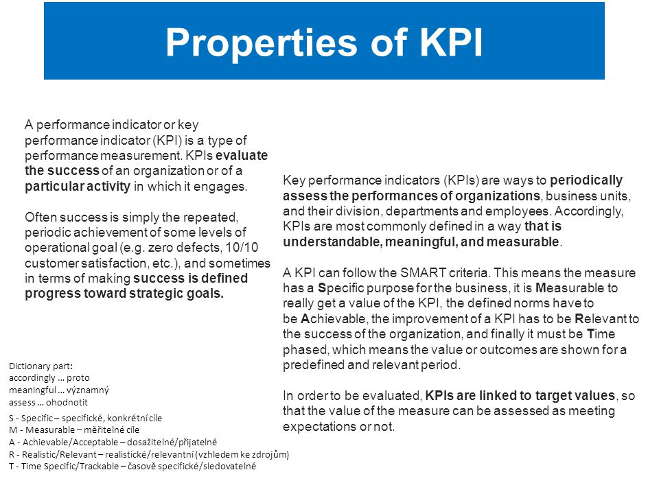 Properties of KPI