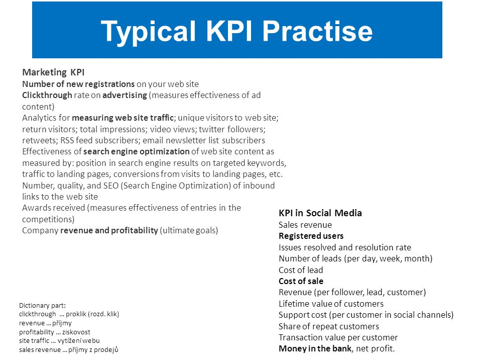 Typical KPI Practise Marketing KPI KPI in Social Media