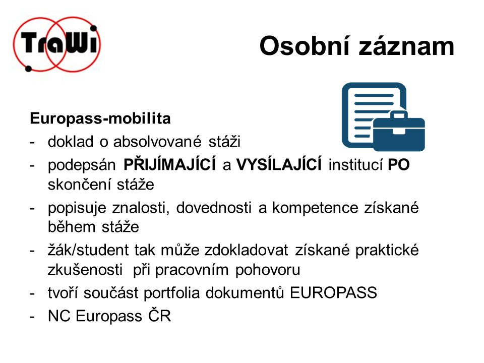 Osobní záznam Europass-mobilita doklad o absolvované stáži