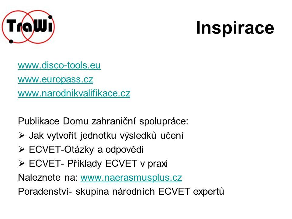 Inspirace www.disco-tools.eu www.europass.cz www.narodnikvalifikace.cz