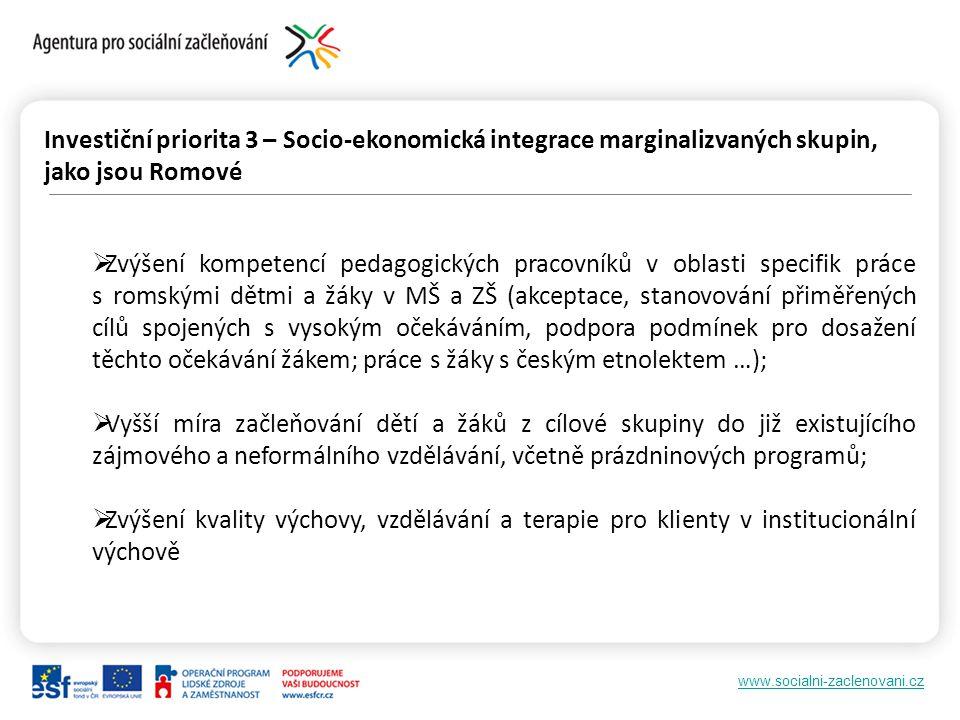Investiční priorita 3 – Socio-ekonomická integrace marginalizvaných skupin, jako jsou Romové