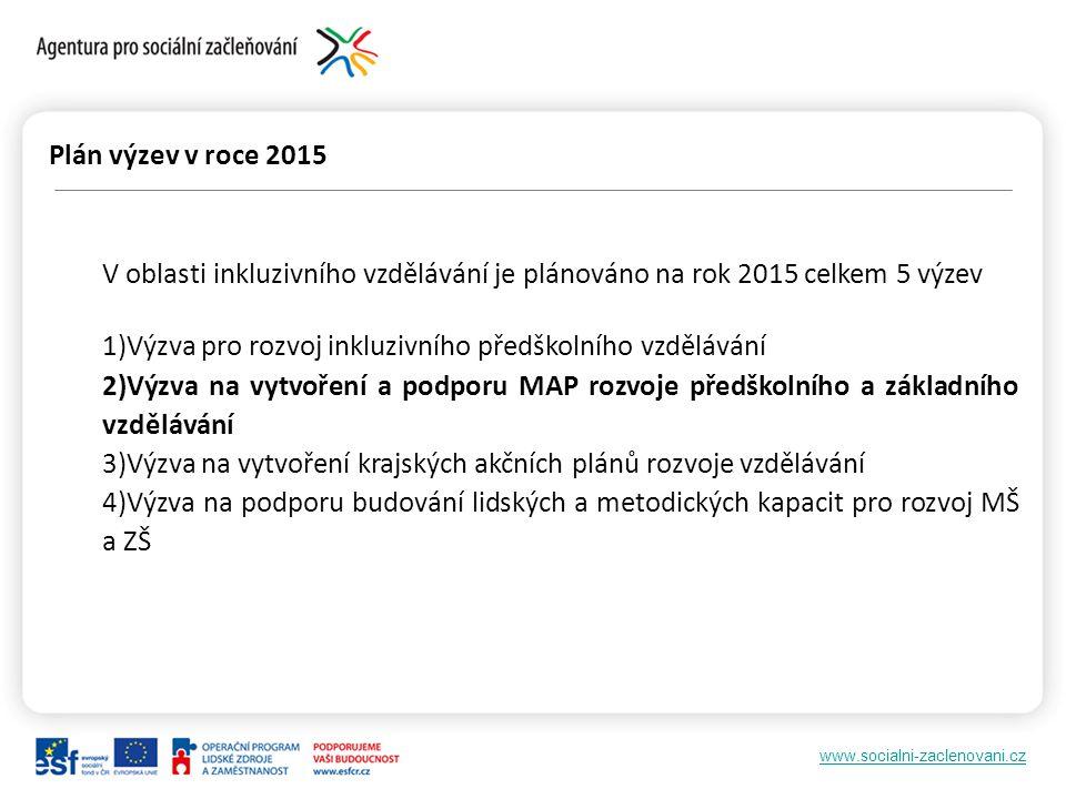 Plán výzev v roce 2015 V oblasti inkluzivního vzdělávání je plánováno na rok 2015 celkem 5 výzev.