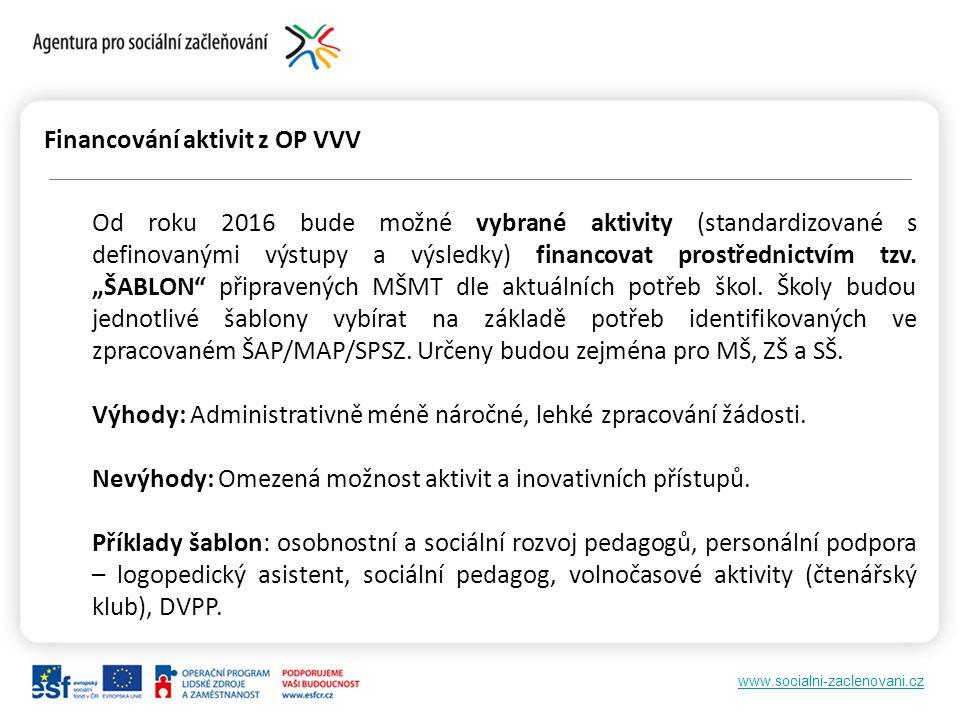 Financování aktivit z OP VVV
