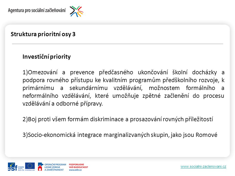 Struktura prioritní osy 3