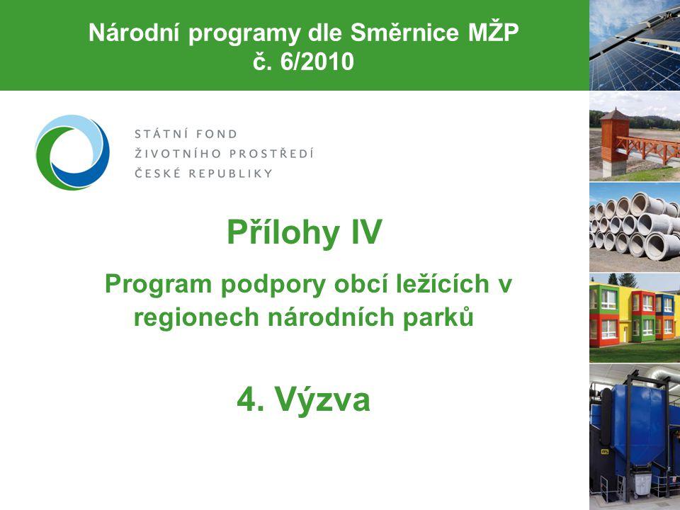 Národní programy dle Směrnice MŽP č. 6/2010