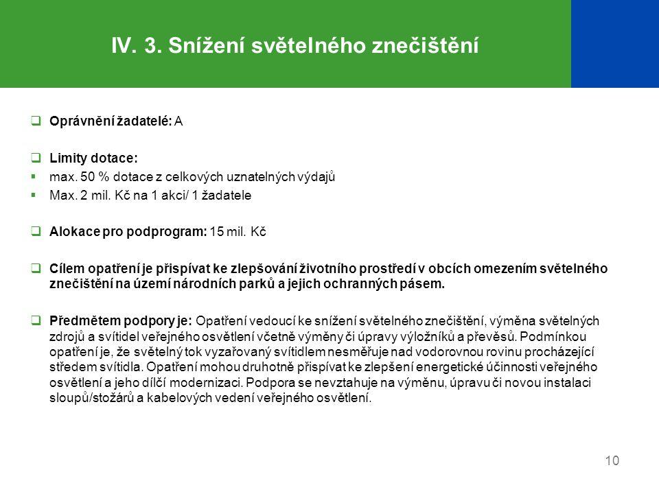 IV. 3. Snížení světelného znečištění