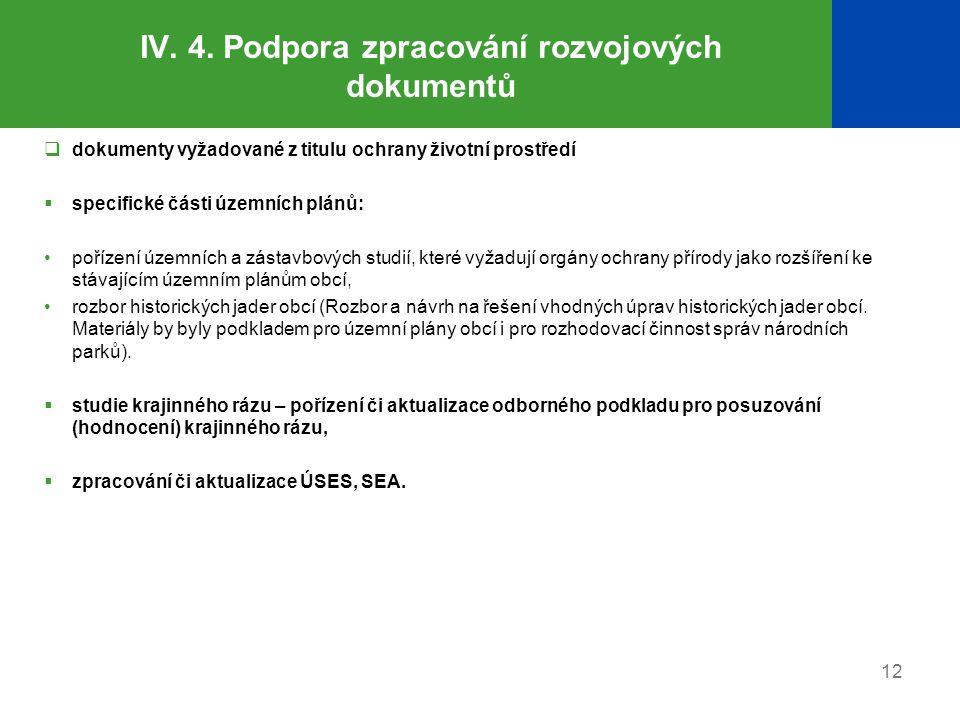 IV. 4. Podpora zpracování rozvojových dokumentů