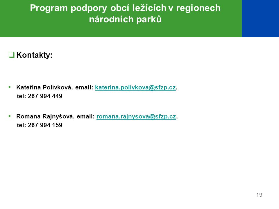 Program podpory obcí ležících v regionech národních parků