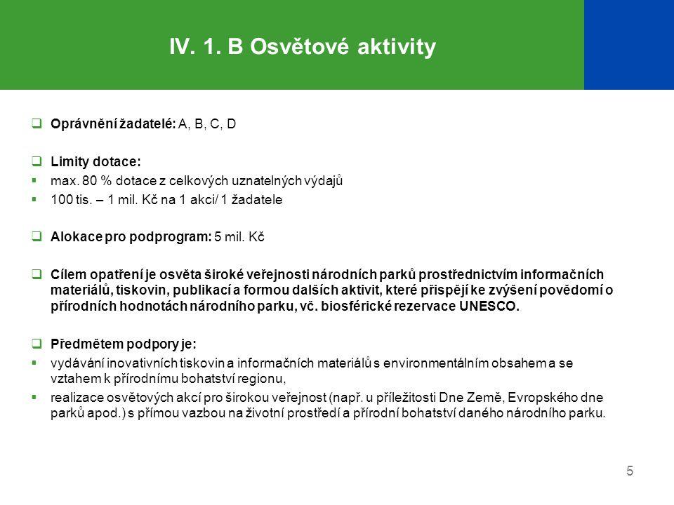 IV. 1. B Osvětové aktivity Oprávnění žadatelé: A, B, C, D