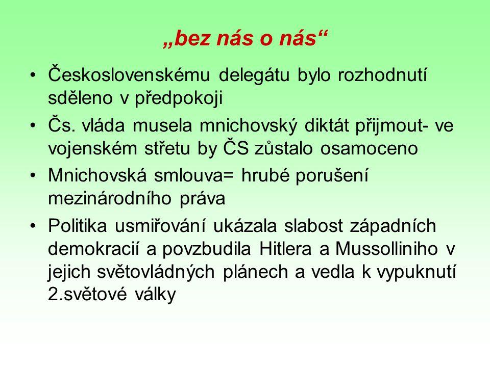 """""""bez nás o nás Československému delegátu bylo rozhodnutí sděleno v předpokoji."""