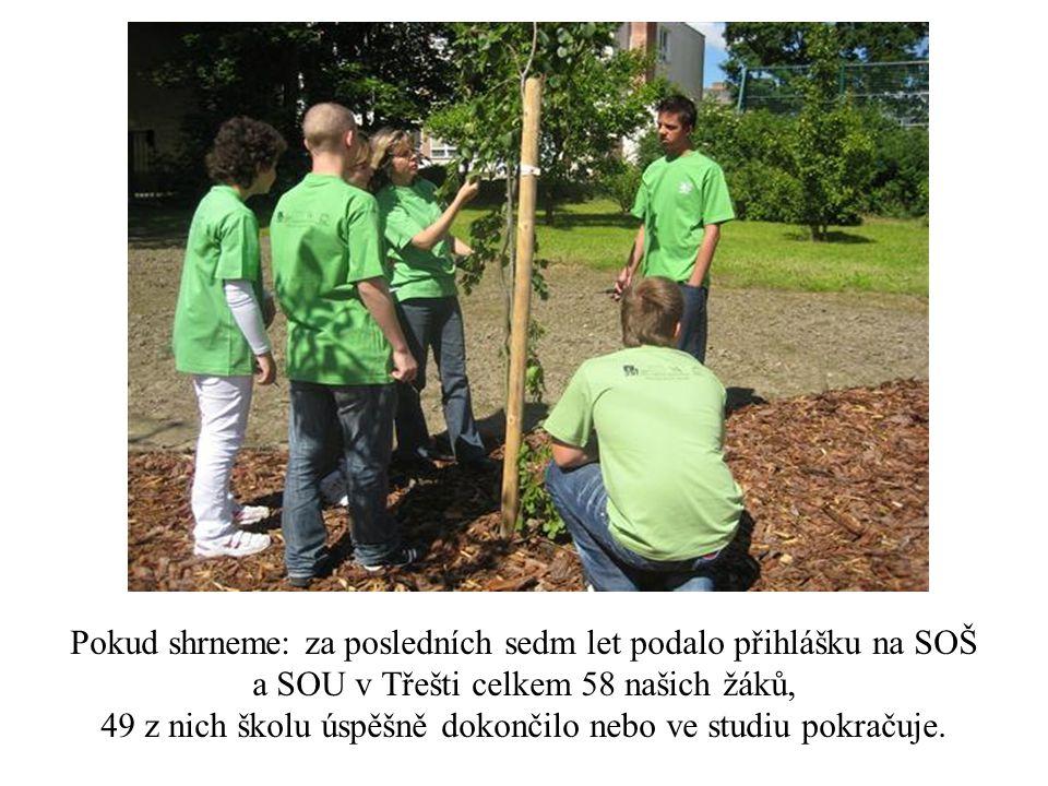 Pokud shrneme: za posledních sedm let podalo přihlášku na SOŠ a SOU v Třešti celkem 58 našich žáků, 49 z nich školu úspěšně dokončilo nebo ve studiu pokračuje.