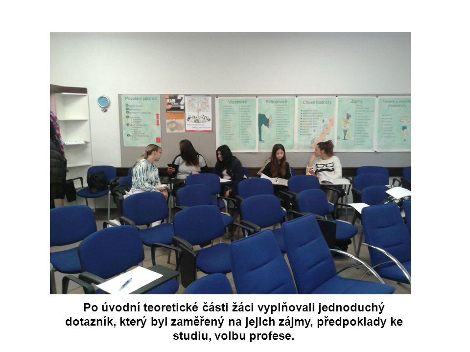 Po úvodní teoretické části žáci vyplňovali jednoduchý dotazník, který byl zaměřený na jejich zájmy, předpoklady ke studiu, volbu profese.