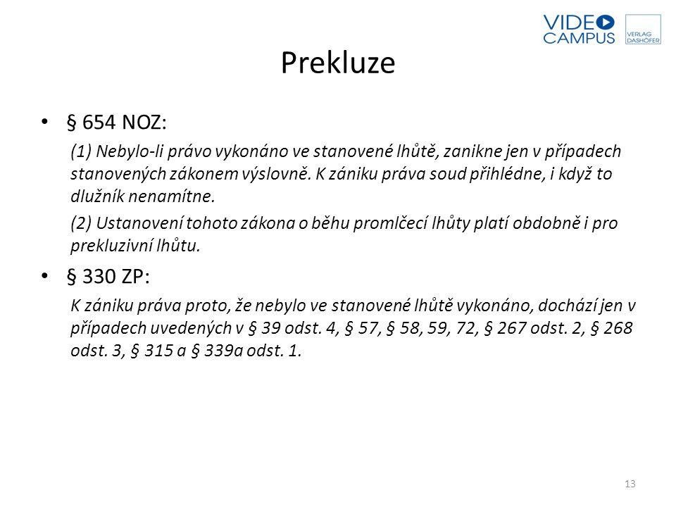 Prekluze § 654 NOZ: